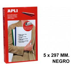 Encuadernador deslizante apli de 5x297 mm. negro, caja de 50 uds.