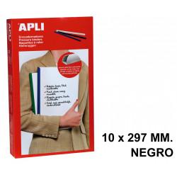 Encuadernador deslizante apli de 10x297 mm. negro, caja de 50 uds.