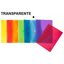 Sobre en polipropileno translúcido con cierre de broche grafoplas ecoplás en formato folio color transparente.