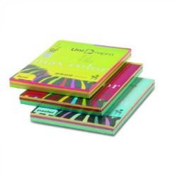 Paquete de 200 hojas de papel uni-repro max color en din a-4 de 80 grs. en 4 colores fuertes.