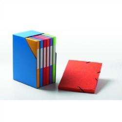 Box de 6 carpetas de proyectos con gomas en cartoncillo de lomo 25 mm. papyrus en din a-4 de colores surtidos.