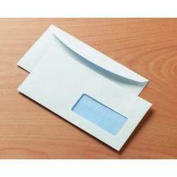 Sobre para publicidad con solapa redonda offset blanco ventana derecha de 45x100 mm. en 115x230 mm. especial para ensobradora y