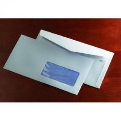 Sobre para publicidad con solapa trapezoidal en v y solapillas exteriores offset blanco ventana derecha de 45x100 mm. en 115x225