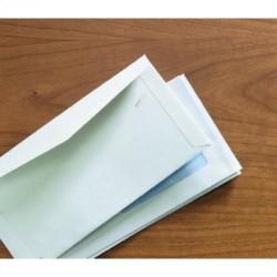 Sobre konstancia con solapa trapezoidal en v y solapillas exteriores offset blanco de 115x225 mm. especial para ensobradora.