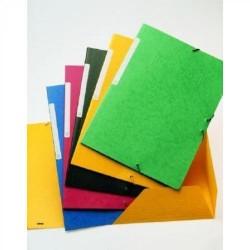 Carpeta de gomas en cartoncillo con solapas papyrus en folio de color amarillo.