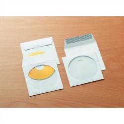Sobre offset blanco gallery con ventana central circular de 108 mm. de diámetro en 125x125 mm. especial para cd/dvd.