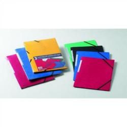 Pack de 3 carpetas de gomas en cartoncillo con solapas papyrus en folio de colores surtidos.