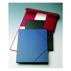Carpeta de gomas en cartón forrado con solapas uni system en folio de color rojo.