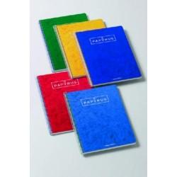 Cuaderno espiral papyrus 03 colores surtidos en folio con doble raya de 3,5 mm. y margen de 80 hojas