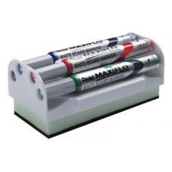 Marcador de pizarra blanca pentel maxiflo mwl5s, estuche de 4 colores surtidos + borrador magnético.