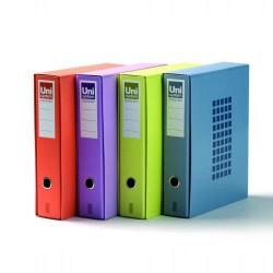 Box de un archivador de palanca uni system novocolor azul en folio de lomo ancho con ranura.