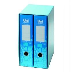 Box de dos archivadores de palanca uni system novografic azules en din a-4 de lomo ancho con ranura.