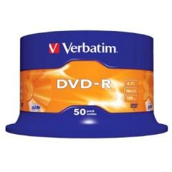 Dvd-r verbatim azo 4,7 gb 16x 120 min superfice matt silver, 50 pack spindle.