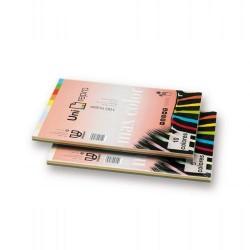 Paquete de 100 hojas de papel uni-repro max color en din a-4 de 80 grs. en 10 colores pastel y fuertes.