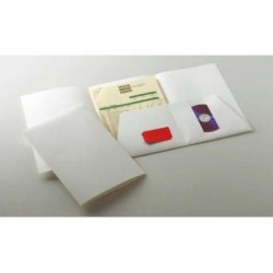 Dossier de presentación en cartulina gofrada con dos bolsillos interiores en din a-4 de color blanco.