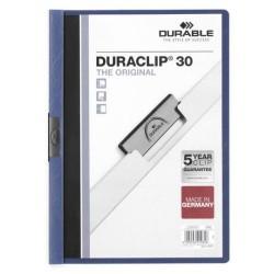 Dossier en pvc con clip duraclip durable en formato din a-4 para 30 hojas en color azul oscuro.