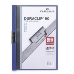 Dossier en pvc con clip duraclip durable en formato din a-4 para 60 hojas en color azul oscuro.