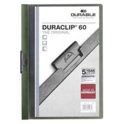 Dossier en pvc con clip duraclip durable en formato din a-4 para 60 hojas en color verde oscuro.