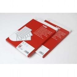 Caja de 100 hojas en din a-4 de etiquetas blancas unioffice para ink-jet, laser y fotocopiadora de 99,1x38,1 mm.