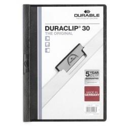 Dossier en pvc con clip duraclip durable en formato din a-4 para 30 hojas en color negro.