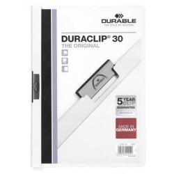 Dossier en pvc con clip duraclip durable en formato din a-4 para 30 hojas en color blanco.