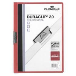 Dossier en pvc con clip duraclip durable en formato din a-4 para 30 hojas en color rojo.