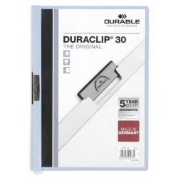 Dossier en pvc con clip duraclip durable en formato din a-4 para 30 hojas en color azul claro.
