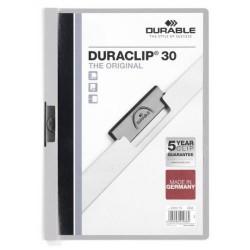 Dossier en pvc con clip duraclip durable en formato din a-4 para 30 hojas en color gris.