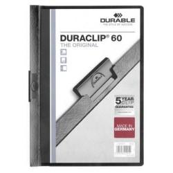 Dossier en pvc con clip duraclip durable en formato din a-4 para 60 hojas en color negro.