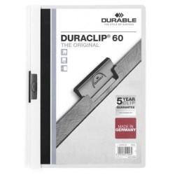 Dossier en pvc con clip duraclip durable en formato din a-4 para 60 hojas en color blanco.