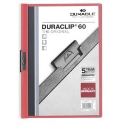 Dossier en pvc con clip duraclip durable en formato din a-4 para 60 hojas en color rojo.