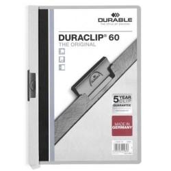 Dossier en pvc con clip duraclip durable en formato din a-4 para 60 hojas en color gris.