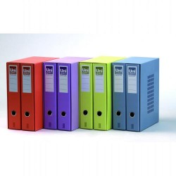 Box de dos archivadores de palanca uni system novocolor amarillos en folio de lomo ancho con ranura.