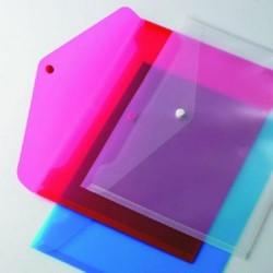 Sobre de polipropileno translúcido carchivo en folio apaisado de color rojo.