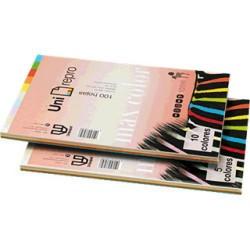 Paquete de 100 hojas de papel uni-repro max color en din a-4 de 80 grs. en 5 colores pastel y fuertes.