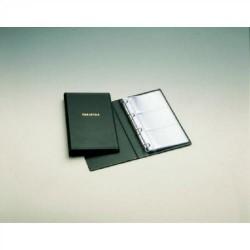 Portatarjetas de visita en p.v.c. con 4 anillas de 16 mm. unioffice de 135x230 mm. en color negro con capacidad para 60 tarjetas