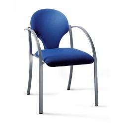 Silla para colectividades oval-7 con brazos y 4 patas en epoxy gris.