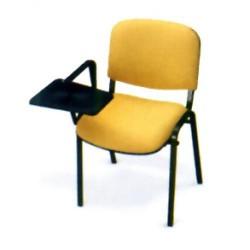 Silla para colectividades oval con pala abatible, rectráctil y 4 patas en epoxy negro.