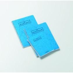 Cuaderno espiral papyrus 02 azul en folio liso con margen de 80 hojas.