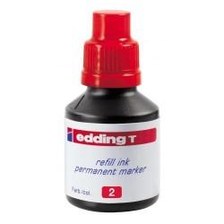 Tinta de recarga edding t 100 de 100 ml. rojo.