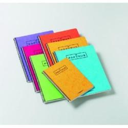 Cuaderno espiral papyrus 02 colores surtidos en din a-4 con rayado horizontal y margen de 80 hojas.