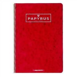 Cuaderno espiral papyrus 03 rojo en 4º con cuadrícula de 4 mm. y margen de 80 hojas