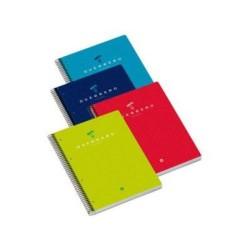 Cuaderno espiral microperforado con 4 taladros guerrero 03 colores surtidos en din a-4 con cuadrícula de 5 mm. de 160 hojas.