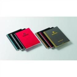 Cuaderno espiral microperforado con 4 taladros uniextra 04 negro con borde rojo en din a-4 con cuadrícula de 5 mm. de 100 hojas.
