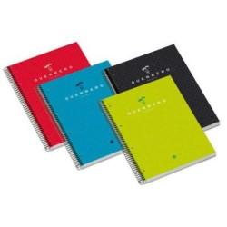 Cuaderno espiral microperforado con 4 taladros guerrero estudio 04 rojo en 4º con cuadrícula de 5 mm. de 160 hojas.