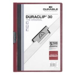Dossier en pvc con clip duraclip durable en formato din a-4 para 30 hojas en color burdeos.