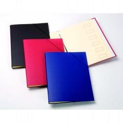 Carpeta clasificador de cartón forrada en plástico con 12 departamentos uni system en folio de color granate.