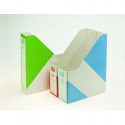 Revistero de archivo en cartón uni system definiclas din a-4 en color azul.