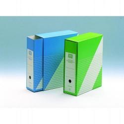 Revistero con funda en cartón uni system definiclas folio en color azul.