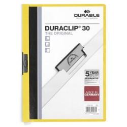 Dossier en pvc con clip duraclip durable en formato din a-4 para 30 hojas en color amarillo.
